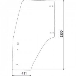 Durvju stikls kreisais Case IH 82015335, 82019226, 82036001