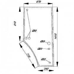 Durvju stikls labais John Deere R110825, R131164, S-R131164