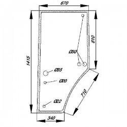 Durvju stikls kreisais John Deere R131163, R96191, S-R131163