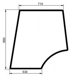 Durvju stikls kreisais augšējais Valtra/Valmet V31506100