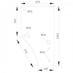 Durvju stikls labais John Deere L169103, L213355, L77648, L77654