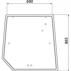 Aizmugurējais stikls Massey Ferguson 3715438M1