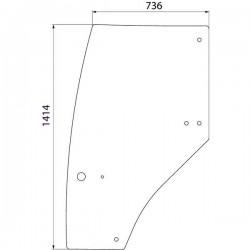 Durvju stikls kreisais Case IH 192003A6